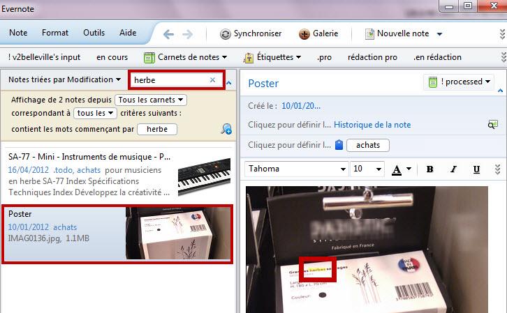 evernote - exemple de recherche grâce au traitement OCR des images